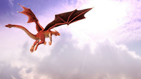 Flying Red Dragon Fantasy Illustration Royalty Free Stock Image