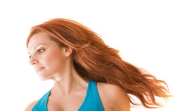 Flying red hair Royalty Free Stock Image