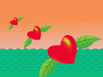 Flying red heart Royalty Free Stock Photos