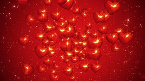 Flying red hearts. In backgrounds stock video