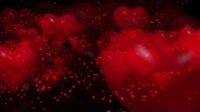 Flying red hearts stock video footage