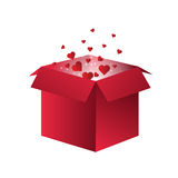 Flying Red Hearts in a box Royalty Free Stock Photo