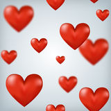 Flying red hearts Happy Valentine's Day, great for Royalty Free Stock Image