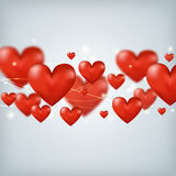 Flying red hearts Happy Valentine's Day, great for Stock Image