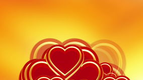 Flying red love hearts background, wedding background animation, valentine's day. Flying red love hearts on golden background, wedding background animation stock video footage