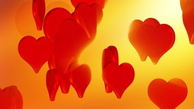 Flying red love hearts, wedding background animation, valentine's day stock video footage
