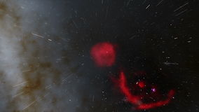 Flying Through a Red Nebula with Milky Way in Background. Animation showing an interstellar flight through a red nebula with the Milky Way in background stock video