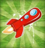 Flying the red rocket. Vector illustration of flying the red rocket Stock Photo