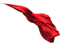Flying red silk textile fabric flag background Royalty Free Stock Photo
