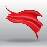 Flying red silk textile flag. Vector drawing Royalty Free Stock Photos