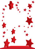 Flying Red Stars_eps. Illustration of 2D and 3D red stars flying Royalty Free Stock Photos