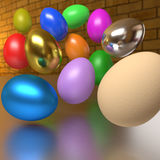 Flying rendered colorful eggs. Beyond a shiny table Royalty Free Stock Image