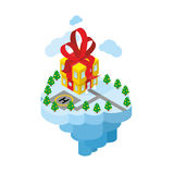 Flying residence of Santa Claus. Building gift - secret Office  Stock Photos