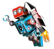 Flying retro robot. Isolated. Contains clipping path Royalty Free Stock Photography