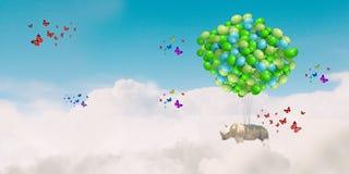 Flying rhino Stock Photography