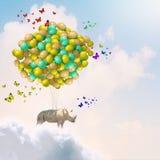 Flying rhino Royalty Free Stock Image