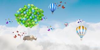 Flying rhino Royalty Free Stock Photography