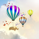 Flying rhino Stock Photography