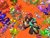 Flying ribbons generated 3D background Stock Photos