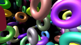 Flying rings generated 3D video stock video