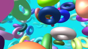 Flying rings generated 3D video stock video footage