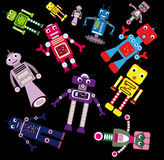 Flying robots. Funny coloring robots flying on black background Royalty Free Stock Images