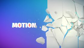 Flying rock pieces banner. Motion collapse. Illustration Stock Photo