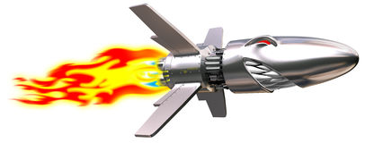 Flying rocket. Detailed funy angry flying rocket with flame on white background stock illustration