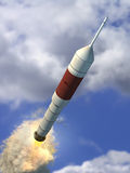 Flying rocket Stock Image