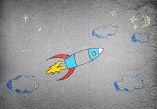 Flying rocket Stock Image