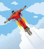 Flying rocket dude Stock Image
