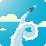 Flying rocket Stock Photo