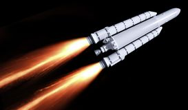 Flying rocket. A flying rocket with fire trail in black back Royalty Free Stock Photos