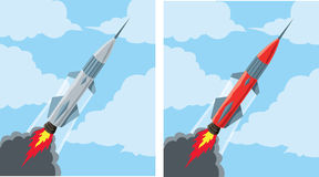 Flying rocket icon Royalty Free Stock Image