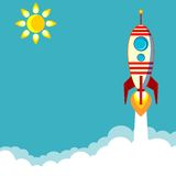 Flying Rocket with Illyuminotor and Flames from Royalty Free Stock Image