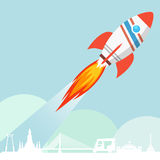 Flying Rocket Launch Royalty Free Stock Photos