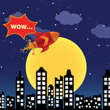 Flying rocket in the night city Royalty Free Stock Image