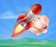 Flying Rocket Piggy Bank. An illustration of a piggy bank with a rocket on his back flying through the air over a landscape Royalty Free Stock Image