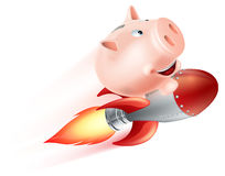 Flying Rocket Piggy Bank. An illustration of a piggy bank riding on a rocket flying through the air Stock Photography
