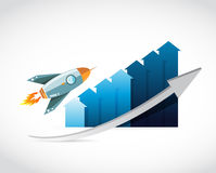 Flying rocket prices concept graph Royalty Free Stock Photography