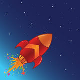 The flying rocket in space. With stars stock illustration