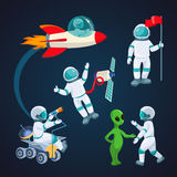Flying rocket, spaceman with satellite, alien speaking to astronaut isolated Royalty Free Stock Photo