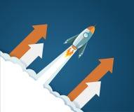 Flying rocket up profits concept illustration. Design over white clouds and a blue sky Stock Image
