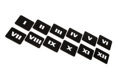 Flying roman numbers. Black-and-white roman numbers isolated on white background stock image