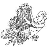 Flying rooster black contour on white. Flying rooster black contour line on white background. Fiery cock, chicken a symbol of the Chinese new year 2017. Vector Stock Images