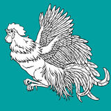 Flying rooster coloring on blue. Background. Decorative chicken monochrome. Coloring page book. A symbol of the Chinese new year 2017 according to east calendar Royalty Free Stock Photos