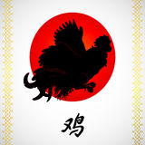 Flying rooster and sun on white. Vector illustration. A flying red rooster on a white background. And hieroglyph cock. A symbol of the Chinese new year 2017 Stock Photo