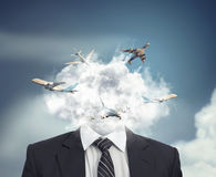 Flying routes in a cloud. royalty free stock photo