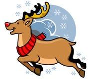 Flying Rudolph Red Nosed. Vector illustration of flying Rudolph red nosed Stock Photo