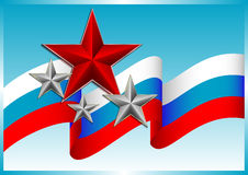 Flying russian flag with stars on blue background Royalty Free Stock Image